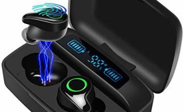moosen Wireless Headphones, Bluetooth 5.0 Wireless Earbuds 156H Playtime Deep Bass Hi-Fi Stereo Sound in-Ear Bluetooth Earphones with Mic, IPX7 Waterproof, Smart LCD Digital Display Charging Case