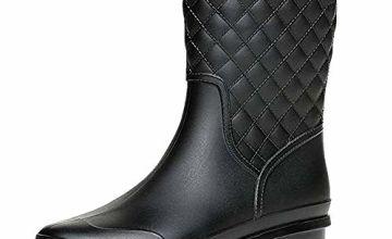 Wellington Boots for Women Ladies Mid Calf Rain Boots Wellies Boots Garden Shoes Black Khaki Blue Size 3-8 UK Blue 36