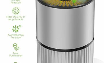 Mkocean Air Purifier for Home with Real HEPA Filter 5-Layer 3 Fan Speed Desktop USB Air Cleaner w Aromatherapy Function for Cigarette Smoke/Allergies/Bacteria/Pets Dander/Pollen/Odors Energy Class A+