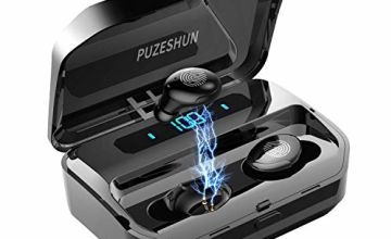True Wireless Headphones Bluetooth Earbuds Bluetooth 5.0 Earphones 3D Stereo Extra Bass 104 Hrs Play Time with 2600mAh Charging Box Waterproof Noise Cancelling Earbuds with Mic for iPhone Android