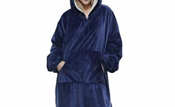Movaty Oversized Sweatshirt Blanket, Sherpa Hoodie Blanket for Adults Men and Women, Wearable Throw Blanket with Sleeves and Pockets