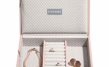 STACKERS Soft Pink Mini Lidded Stacker Jewellery Box Grey Sp