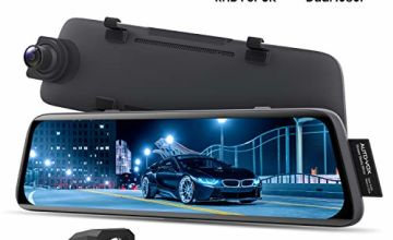 AUTO-VOX V5 Mirror Dash Cam 1080P Dual Dash Cam Front and Rear with Night Vision, Sepcial for RHD Cars, 9.35'' Full Touch Screen Rear View Mirror with Reversing Camera, Parking Mode, GPS Tracking