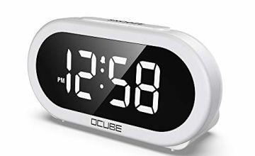 OCUBE LED Digital Alarm Clock, Bedside Clock with 5 Optional Alarm Sounds, USB Charging Port, Full-Range Brightness Dimmer, Big White Digit Display, Snooze, Adjustable Alarm Volume, Mains Powered