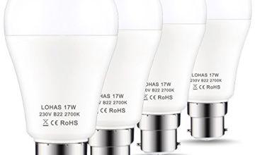 LOHAS B22 LED Bulbs 150W Equivalent, 17W LED Bayonet Light, Warm White 2700K, Super Bright 1600Lm, Non-Dimmable, Energy Saving Light Bulbs, 4-Pack