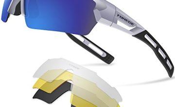 TOREGE Sports Sunglasses Polarized Glasses For Man Women Cycling Running Fishing Golf TR033
