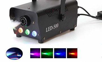 Fog Machine,500W Smoke Machine with LED Lights Wireless Remote Control for Halloween Wedding Party Disco Dj Effect