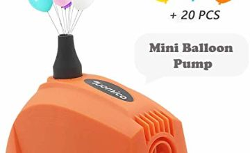 Tuomico Mini Electric Balloon Pump Portable Balloon Inflator Air Blower for Party/Wedding/Business Celebration Deco (Orange)