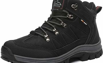 AX BOXING Mens Snow Boots Winter Warm Ankle Walking Hiking Boots Fully Fur Lined Anti-Slip Leather Work Shoes Size 6.5-12