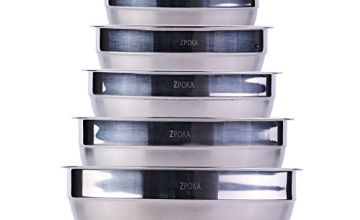 ZPOKA Stainless Steel Mixing Bowls, Nesting Bowl Set, Matte and Mirror Finish, Set of 6