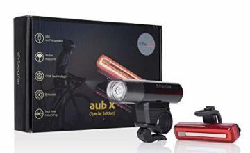 Cycleafer® Bike Lights Set, USB Rechargeable Premium Quality Road Bike Lights, Front Bicycle Light + Free Rear Bike Light l Module - aubX l UK Company
