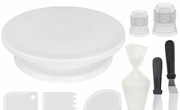 InnoGear Cake Turntable 28 cm, Cake Decorating Supplies, Spatula, 3 Icing Smoother, 12 Cake Piping Nozzles Tips, 2 Coupler and 50 Disposable Pastry Bags, Stainless Steel