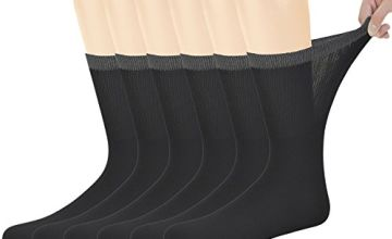 Yomandamor 6 Pairs Mens Bamboo Diabetic Mid-Calf Black Socks with Seamless Toe,6-11UK