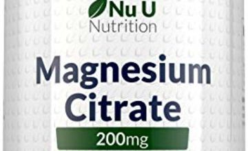 Magnesium Citrate 200mg | 180 Tablets for 6 Month Supply of Magnesium Tablets | Made in The UK by Nu U Nutrition
