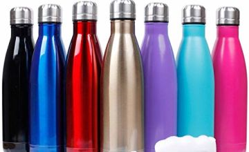 Sfee 17oz Insulated Stainless Steel Water Bottle Double Wall Vacuum Bottle Cup Leak Proof Keeps Hot and Cold Drinks BPA Free for Outdoor Sports Camping Hiking Cycling + Cleaning Brush