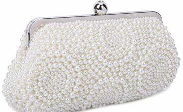 BAIGIO Womens Pearl Clutch Bags Evening Bag Purse Handbag fo