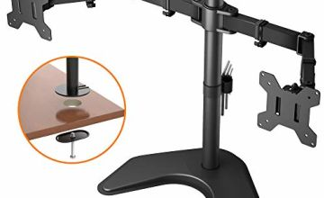 BONTEC Double Twin Arm Desk Mount for 13-27 inch LCD LED Monitor Screens, Ergonomic Tilt, Swivel & Rotate Dual Monitor Stand, VESA Dimensions: 75x75-100x100mm