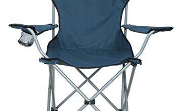 Trespass Settle, Blue, Camping Chair with Cup Holder & Carrier Bag, Blue
