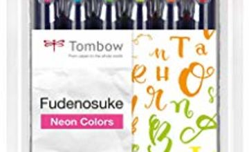 Tombow Fudenosuke Hard Tip Brush Pens (Set of 6) - Neon Colours