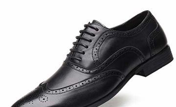 Brogues Shoes for Men Oxford Business Shoes Mens Leather Faux Lace Up Shoes Retro Smart Dress Shoes Wide Fit Wedding Office Flat Black 12 UK