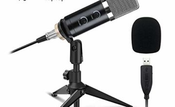 PC Microphone, NASUM USB Microphone Plug & Play Professional Home Studio Condenser Microphone for Podcast, Recording, Online Chatting Such as Facebook, Skype, YouTube(Windows/Mac), with Tripod Stand