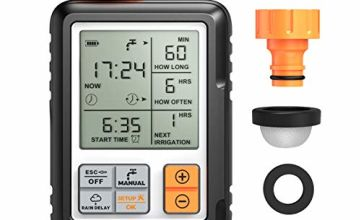 OMORC Automatic Water Timer, Irrigation Timer with Timed Irrigation, Manual Control and Child Safety, with 1 Tap Adaptor, 1 Quick Connector and 2 Rubber Rings Grey