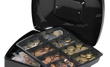 Q-Connect KF02603 Cash Box - Black , 255 X 200 X 90 mm