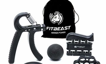 FitBeast Hand Grip Strengthener Forearm Grip Workout Kit - 5 Pack, Adjustable Hand Gripper, Finger Exerciser, Finger Stretcher, Exercise Ring & Stress Relief Grip Ball for Athletes and Musicians