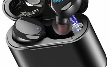 TOZO T6 True Wireless Earbuds Bluetooth Headphones Touch Control with Wireless Charging Case IPX8 Waterproof TWS Stereo Earphones in Ear Built in Mic Headset Premium Deep Bass for Sport Black