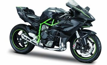 Maisto Kawasaki Ninja H2R: original motorbike model, 1:12 scale, with suspension and fold-out side stand, 17 cm, black (5-16880)