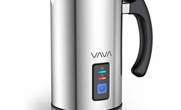 Milk Frother Electric, (New Version) VAVA Milk Steamer Foamer Liquid Heater with Hot or Cold Milk Functionality (Silent Operation, Temperature Controls, Non-Stick Coating, Extra Whisks, FDA Approved)