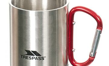 Trespass Bruski, Silver, Double Walled Carabiner Camping Cup 230ml, Grey