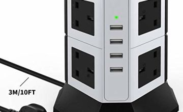 Power Strip Tower Extension Lead, 8 Way Outlets 4 USB Ports Power Strip Surge Protector, 3M / 10 FT Power Strip Extension Cord, 2500W Overload Protection, High-speed charging.(2020 Latest Version)
