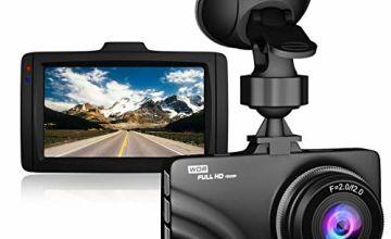 "Claoner Dash Cam 1080P Full HD Dashcam Car Camera DVR Dashboard Camera 3"" IPS Screen 170° Wide Angle, G-Sensor, WDR, Parking Monitor, Loop Recording, Motion Detection"