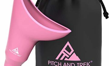 Pitch and Trek Female Urinal - Travel Urination Device & Pee Funnel for Women - Discreet Carry Bag - Camping, Hiking, Outdoor Activities & More