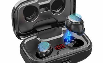Wireless Headphones,AIKELA Wireless Earphones Bluetooth 5.0 Deep Bass Sport IPX7 Waterproof Bluetooth Headphones 90H Playtime Wireless Earbuds Earphones with Mic and Digital Display for iPhone Android
