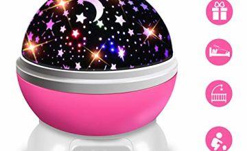 Moredig Star Projector Night Light, Baby Night Light Rotation LED Night Light Lamp with 8 Colorfull Lights