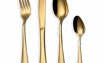 HOMQUEN 5 24 30 Piece Cutlery Flatware Set Serving Set(Black/Copper/Gold/Rainbow)