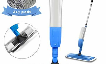 Spary Mop,Microfiber Mop with 4 Reusable Pads and 450ML Bottle, 360 Degree Spin Mop Suitable for Hardwood, Marble, Tile