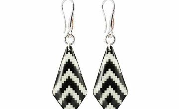 Modern Striped Black and White Earrings in a Gift Bag for Women; Funky Zebra pattern Dangle Jewellery for Everyday by Dragon Porter; Design Shape -1.2x0.5 inch -3x1.3cm