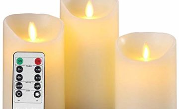 """LED Candles,Flameless Candles 4"""" 5"""" 6"""" Real Wax Battery Candle Pillars, 10 Key Remote Control with 24 Hour Timer Function(Ivory,3 * 1)"""