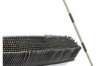 Rubber Broom Long Handle Push Broom Rubber Bristles Sweeper Squeegee with Scratch Free Bristle Broom for Pet Cat Dog Hair Ideal for Cleaning Carpet Hardwood Tile Windows Clean Water Resistant