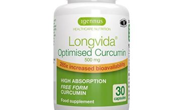 Longvida Optimised Curcumin 500 mg, 285x Increased bioavailability, Vegan, 30 Capsules