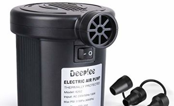 Deeplee Electric Pump, 150W High Power Electric Air Pump for Air Bed Mattress Inflatables Paddling Pool Beach Toys, AC 220-240V Quick-Fill Inflator Deflator with 3 Sizes Nozzle
