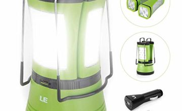 LE LED Camping Lantern with 2 Detachable Torches, USB Rechargeable and Battery Operated, 600 Lumen Tent Light, Outdoor Searchlight for Emergency, Hiking, Fishing, Power Cuts and More