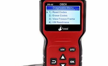 Foseal Plug and Play Code Reader, Wired Car OBD2 Scanner, HD LCD Display Screen, Red