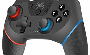 Switch Wireless Controller for Nintendo Switch, Switch Gamepad with Dual Shock Vibration Motor Gyro 6-axis Sensing Turbo Function Remote Joystick for Nintendo Switch and PC (Blue&red)