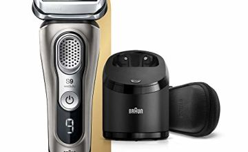 Braun Series 9 9385cc Latest Generation Electric Shaver, Clean and Charge Station, Leather Case Graphite