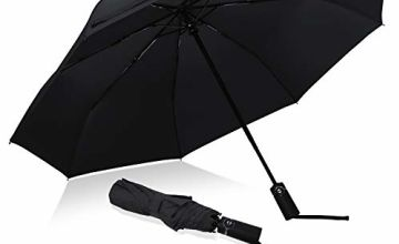 Eono by Amazon - Folding Umbrella Compact Travel Umbrella Strong Durable Windproof Rain Umbrella Portable Umbrella with Teflon Coating - Reinforced Canopy, Ergonomic Handle, Auto Open/Close