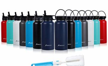 SHEEFLY 500ml/950ml Double Wall Vacuum Insulated Stainless Steel Water Bottle - Sports Travel Bottle Cup for Outdoor Fitness Camping Cycling Picnic with BPA Free Straw Lid+Cleaning Brush